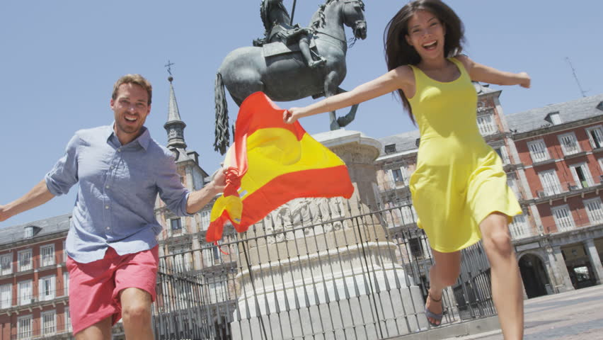 Spanish Flag People Cheering Celebrating Showing Spain Flag In - Famous people from spain