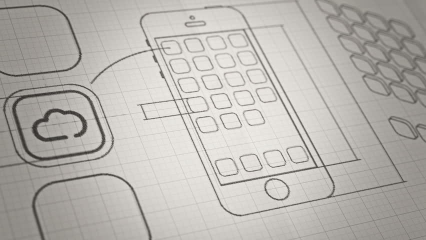 Mobile App development sketch concept. Technology drawing animation. Different colors in my profile. | Shutterstock HD Video #8736382