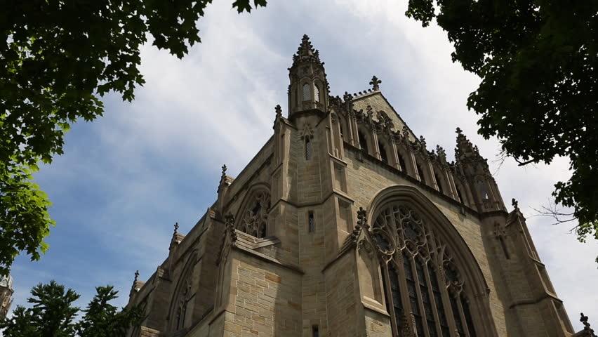 PRINCETON, NJ/USA - JUNE 20, 2014: Princeton University Chapel. Wide low angle shot. 1080p HD.