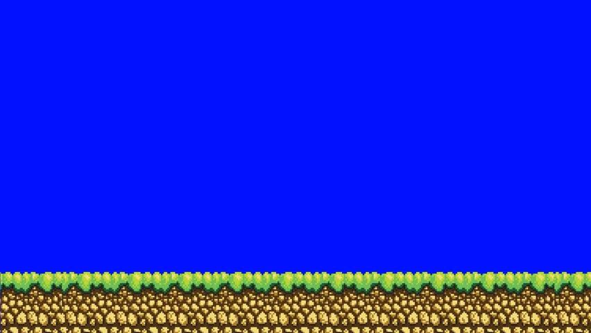 Animation of 1980's Old Arcade Video Game Platform Level