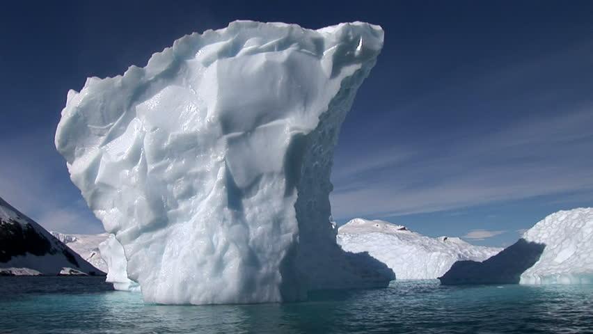 Small blue iceberg in Neko Harbour, Antarctica
