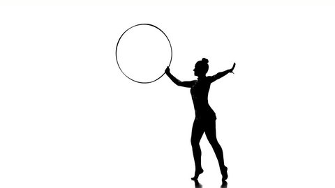 woman exercising Rhythmic Gymnastics hula hoop  in silhouette studio  isolated on white background