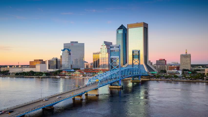 Jacksonville, Florida, USA downtown city skyline time lapse.