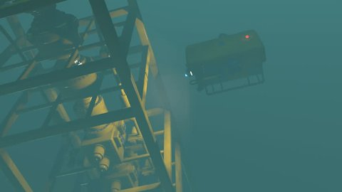 High quality 3D render of an ROV inspecting underwater oil and gas equipment. Fictitious ROV, oil and gas equipment. Murky water to emphasize depth, and blurred image for dramatic effect