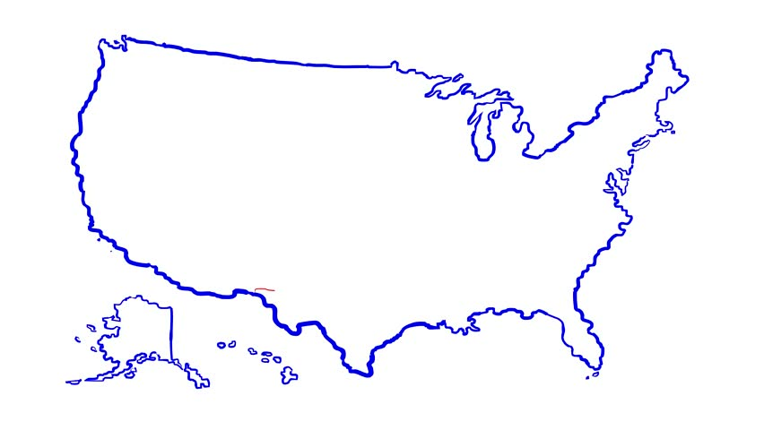 Alaska Animated Map Video Starts With Light Blue USA National Map - Us map lines
