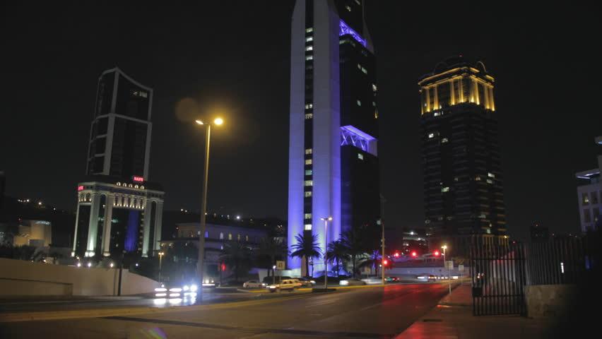 MONTERREY, NUEVO LEÓN, MEXICO - CIRCA 2015, TIME LAPSE 4K: Time Lapse of a lighting building at night, circa 2015 in Monterrey Mexico
