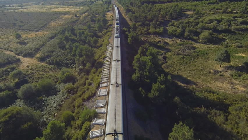 Train running over railway in the forest at sunset, aerial view | Shutterstock HD Video #8897365