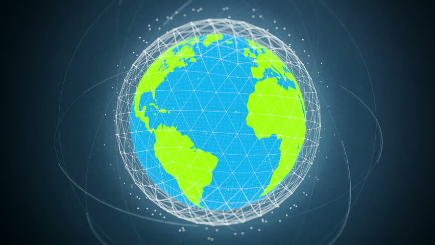 Flat Design Spinning Earth With Communication Network And