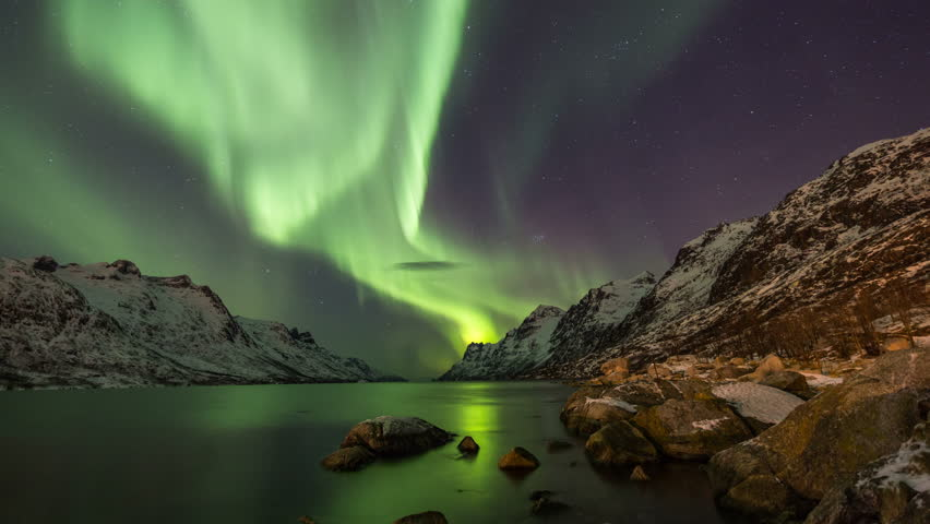 Aurora Borealis (Northern Lights) at Ersfjordbotn in Norway, Tromsø | Shutterstock HD Video #8908279