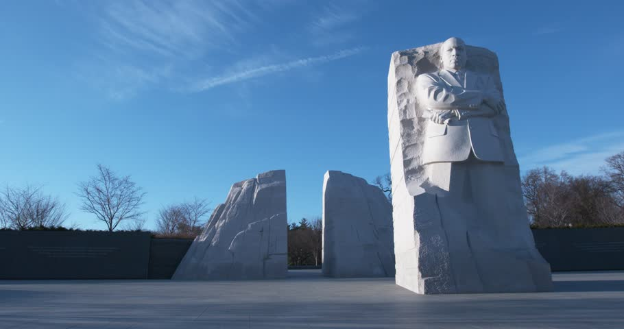 """The Martin Luther King, Jr. Memorial in Washington D.C. with tilt down to reveal memorial. Winter. """"Out of the mountain of despair, a stone of hope."""" """"I Have A Dream"""""""