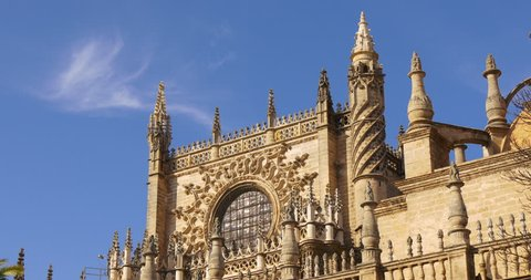 sunny day blue sky seville main cathedral 4k spain