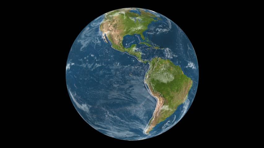 Spinning realistic Earth loop for black color key in HD  (1920x1080 Full HD, 30sec, loop, maps by NASA)