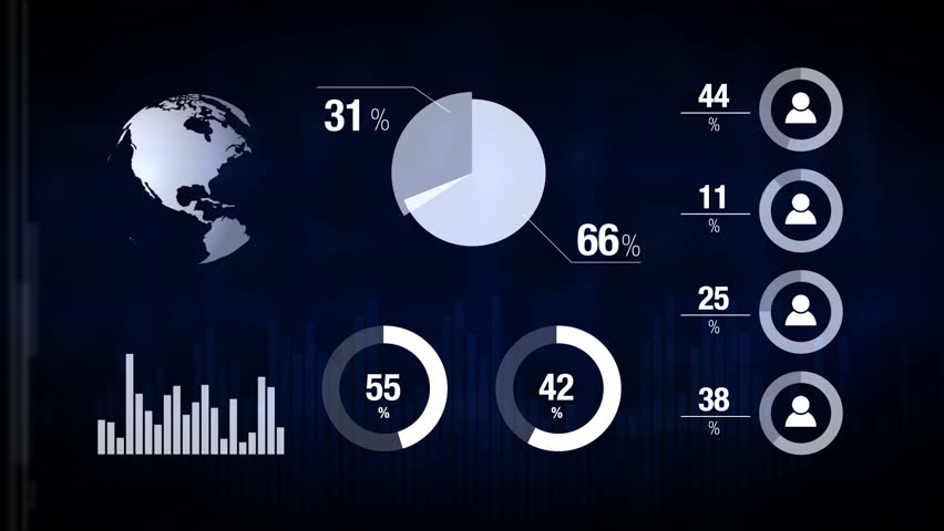 Various Animated Infographics Charts as Technology, Science, Data Analysis, Business, Finance or Economy illustrative background. 1920x1080 full hd footage.