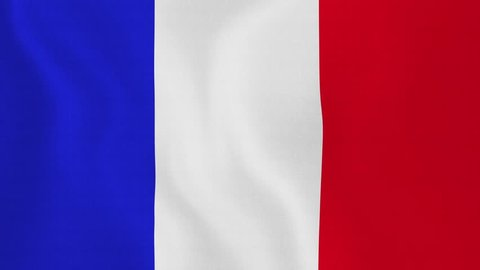 [loopable] Flag of France. French official flag gently waving in the wind. Highly detailed fabric texture for 4K resolution. 15 seconds loop. Source: CGI rendering. Clip ID: ax646c
