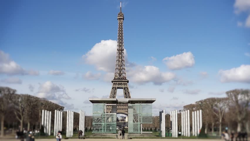 Eiffel tower peace monument frontal shot - 60fps Front shot of Eiffel tower peace monument frontal shot - 1080p | Shutterstock HD Video #8965675