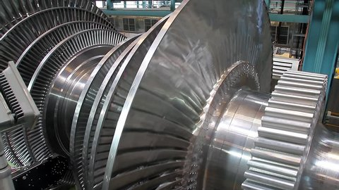 Rotation of turbine blades at a plant producing steam turbines