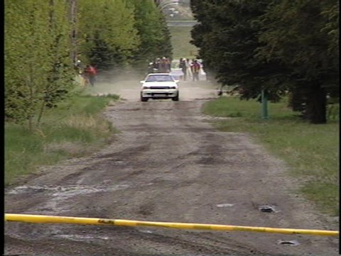 off road rally race, spectator stage straight section, Toyota celica (good audio)
