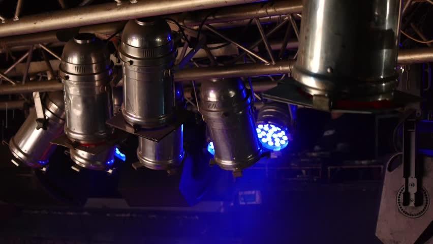 Stage lights - film spotlights - light show - music club - theatrical lighting - disco club | Shutterstock HD Video #8985775