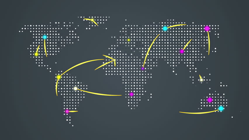 Abstract world map with route lines and colorful dots ideal for abstract world map with route lines and colorful dots ideal for technology broadcast background gumiabroncs Choice Image