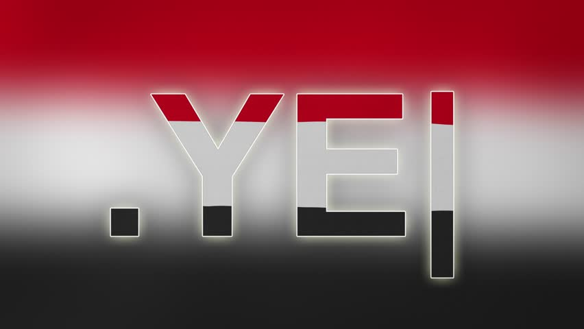 """YE - internet domain of Yemen. Typing top-level domain """".YE"""" against blurred waving national flag of Yemen. Highly detailed fabric texture for 4K resolution. Source: CGI rendering. Clip ID: ax1073c"""
