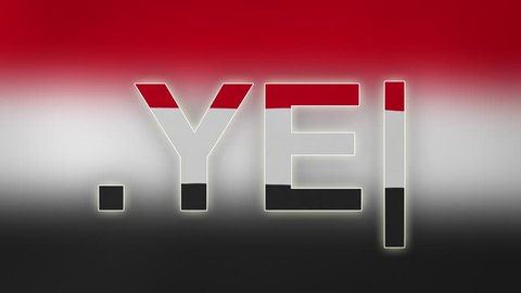 "YE - internet domain of Yemen. Typing top-level domain "".YE"" against blurred waving national flag of Yemen. Highly detailed fabric texture for 4K resolution. Source: CGI rendering. Clip ID: ax1073c"