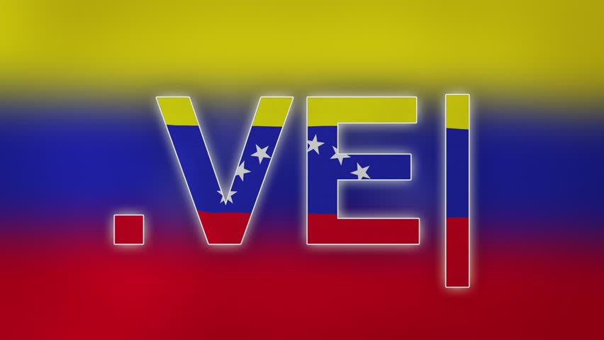 """VE - internet domain of Venezuela. Typing top-level domain """".VE"""" against blurred waving national flag of Venezuela. Highly detailed fabric texture for 4K resolution. Clip ID: ax1070c"""