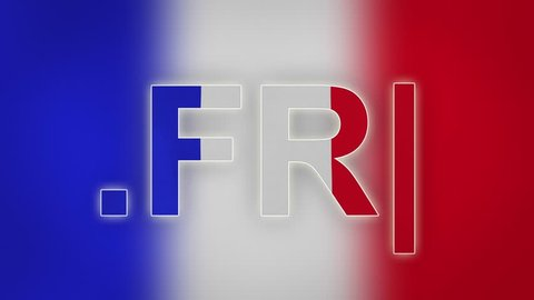"FR - internet domain of France. Typing top-level domain "".FR"" against blurred waving national flag of France. Highly detailed fabric texture for 4K resolution. Source: CGI rendering. Clip ID: ax898c"
