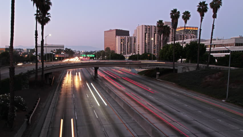 Time lapse of highway traffic in los Angeles at sunset | Shutterstock HD Video #9027325
