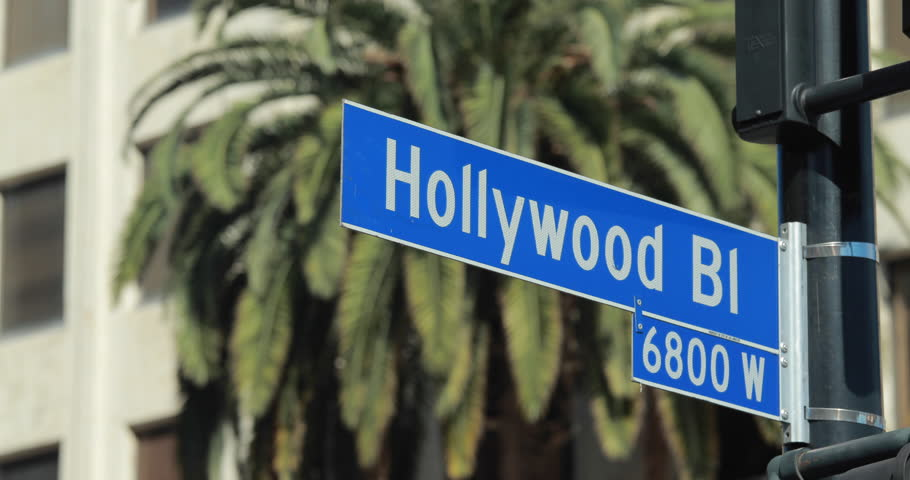 Hollywood Blvd street sign pan