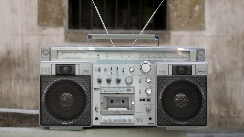 stop-motion of a retro stereo ghetto-blaster in different urban locations, tracked so it looks almost in the same place in each shot