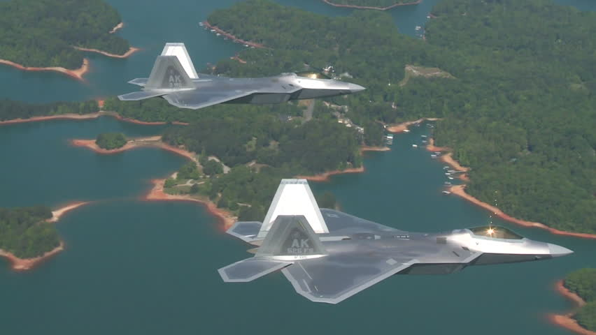CIRCA 2010s - Aerials of the U.S. Air Force Air Mobility Command F-35 Lightnings in flight.