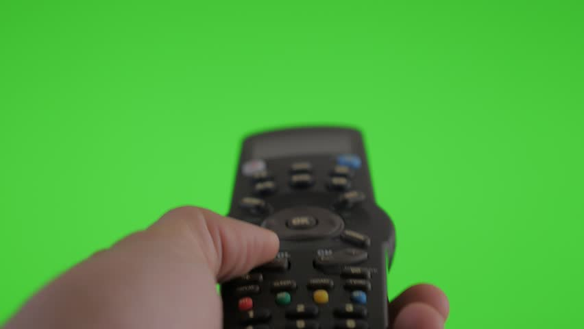 Remote control using  on green screen background for channel changing 4K 3840X2160 UHD footage - Listing channels with RC on green screen background 2160p UHD video | Shutterstock HD Video #9108935
