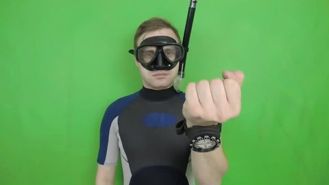 Diving sign- divemaster  shows sing  ASK QUASTIONS  ,also a available on the green screen all of diving sings from course (open water diver)  10   of 11