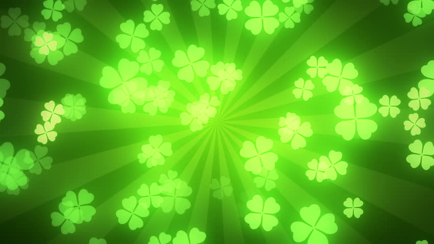 Falling clover leaves on green radial background. Saint Patrick's day (St Patrick's) holiday background. Seamless loop. Different colors background is available. #9120656
