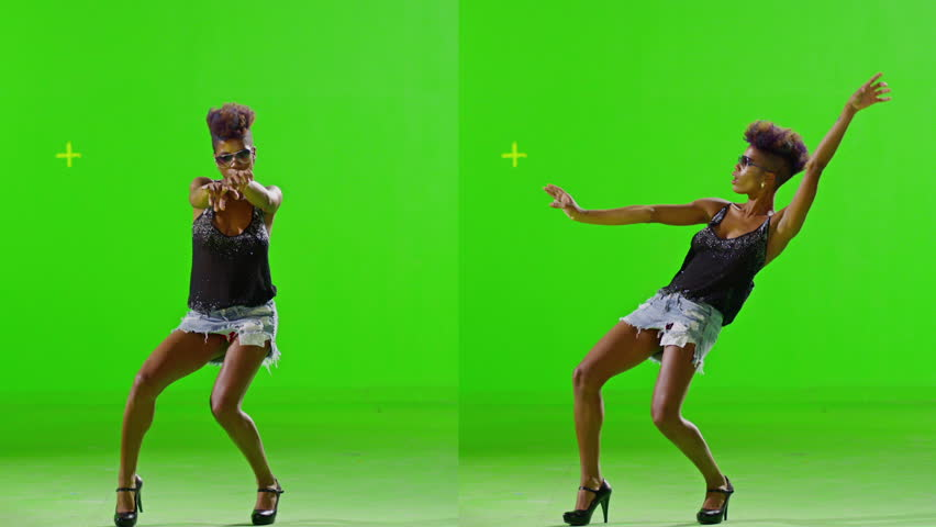 FEW SHOTS! African Stylish Girl Dancing On Green Screen. Real Strobe Light On Body. Slow Motion. Few shots.