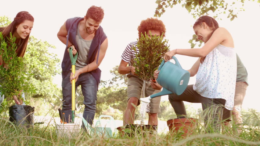 In slow motion happy friends gardening for the community on a sunny day | Shutterstock HD Video #9150455