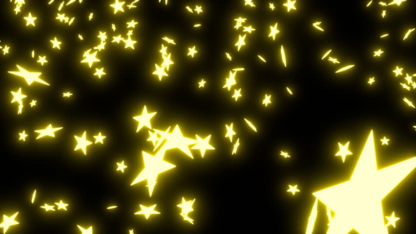 Animated falling neon gold, yellow stars on black background. | Shutterstock HD Video #9156659