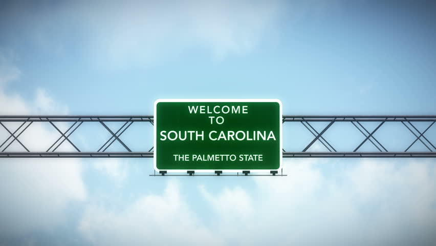 4K Passing under Welcome to South Carolina State USA Interstate Highway Sign with Matte Photo Realistic 3D Animation 4K 4096x2304 ultra high definition