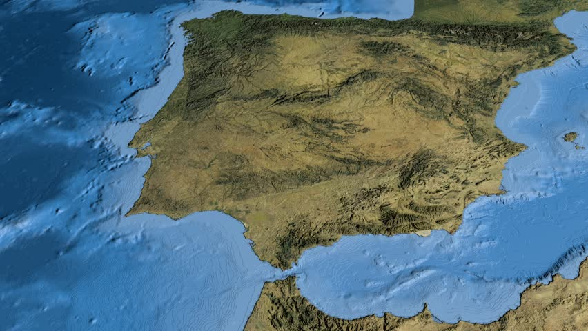Satellite Map Of Spain.Glide Over The Satellite Map Stock Footage Video 100 Royalty Free 9170045 Shutterstock