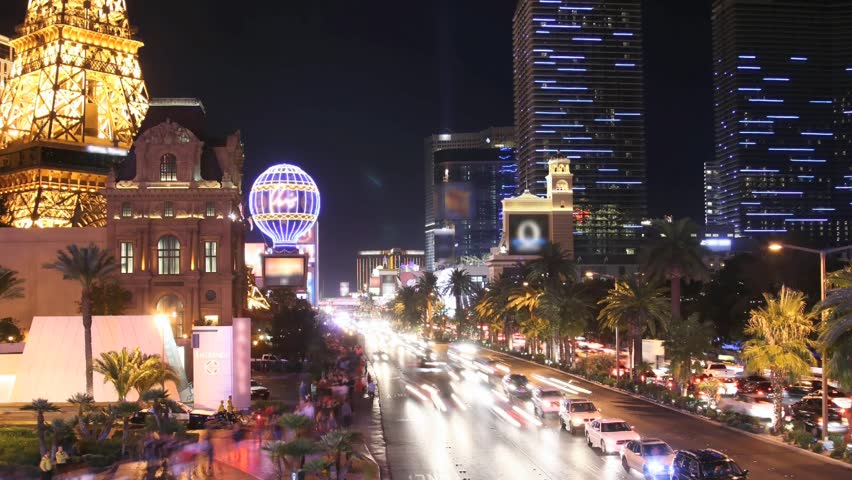 Time lapse Las Vegas Strip at night. All trademarks are blurred. License plates and faces cannot be identified. | Shutterstock HD Video #917335