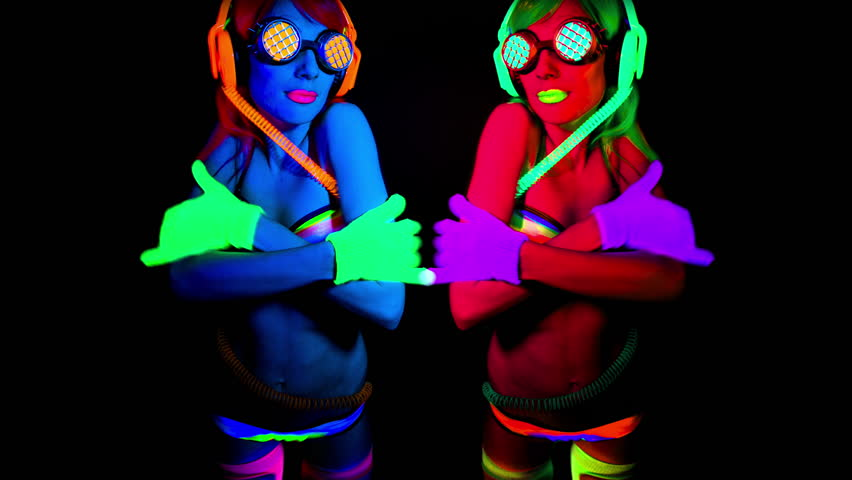 4k shot of sexy female disco dancer in UV fluorescent costume  | Shutterstock HD Video #9173819
