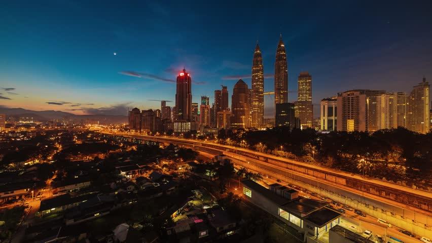 Time lapse of sunrise in Kuala Lumpur, Malaysia. High quality, Ultra HD, 4K resolution