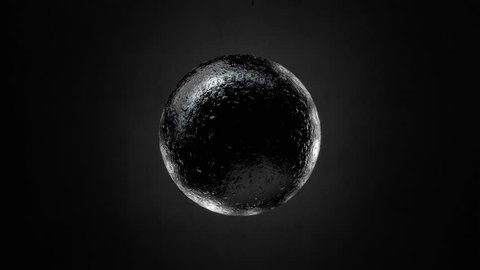 Abstract Black Textured Sphere Object Looping with Alpha Matte 4K 4096x2304 - the 4K resolution allows you to crop in closely, when placed into HD or SD video projects, without the need for scaling