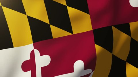 maryland flag waving in the wind. Looping sun rises style.  Animation loop