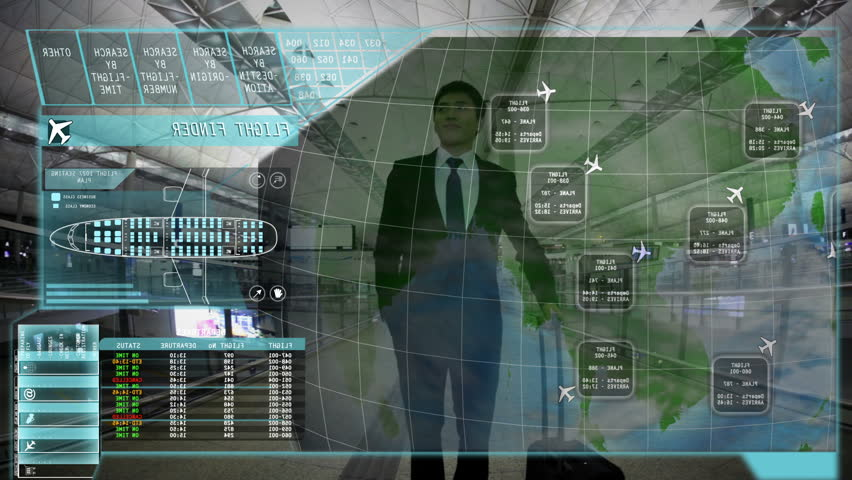 Manager Asian Airport Touchscreen Board Technology information motion graphics #9276965