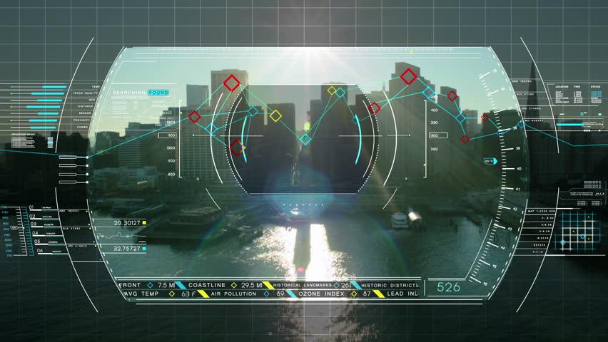 Drone Technology USA spy GPS flight motion graphics analysis aerial monitor city | Shutterstock HD Video #9277043