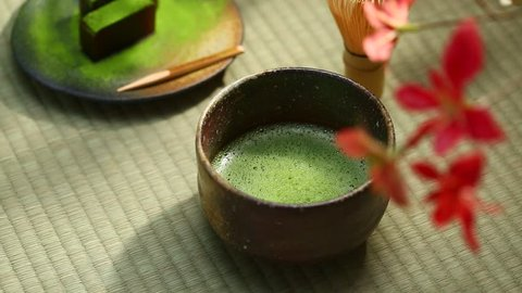 Japanese confectionery and Matcha green tea