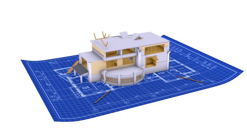 Luxury House Being Built On A Blueprint Paper Hd Stock Video Clip