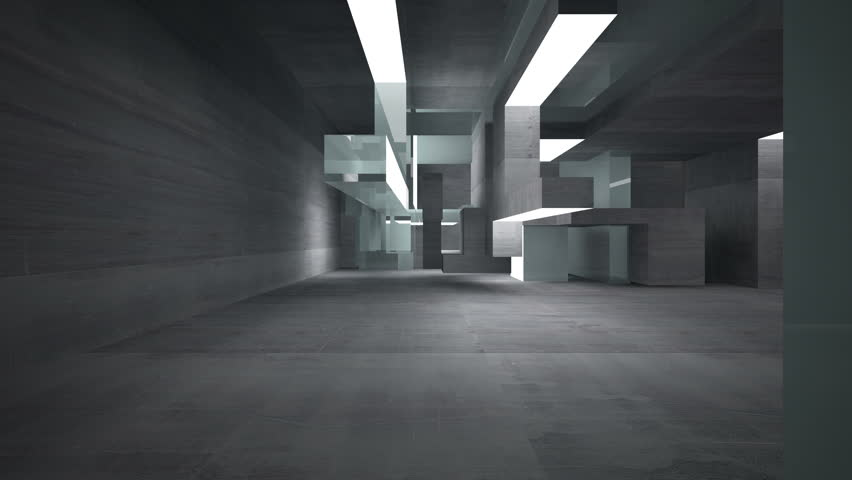 Empty Dark Abstract Concrete Room Stock Footage Video 100