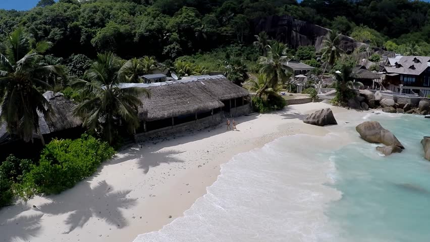 The aerial view of Anse Takamaka, Mahe island, Seychelles